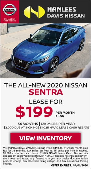 Lease for $199 per month - New 2020 Nissan Sentra