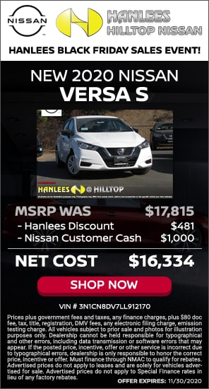 Up to $1,481 off MSRP - New 2020 Nissan Versa S