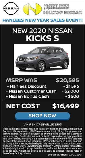 Up to $4,096 off MSRP - New 2020 Nissan Kicks S