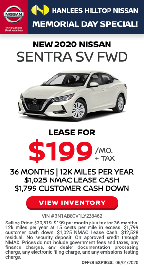 $199 per month plus tax - New 2020 Nissan Sentra SV FWD