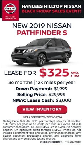 $325/mo. + tax - New 2019 Nissan Pathfinder S
