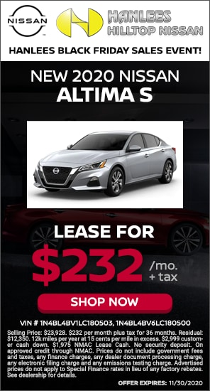 Lease for $232/mo. + tax - New 2020 Nissan Altima S