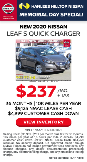 $237 per month plus tax - New 2020 Nissan Leaf S Quick Charger