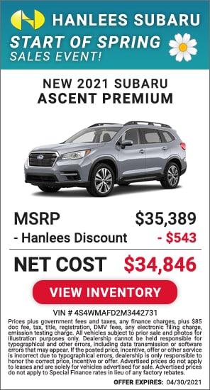Up to $543 off MSRP - New 2021 Subaru Ascent Premium