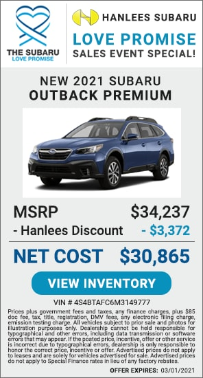 Up to $3,372 off MSRP - New 2021 Subaru Outback Premium