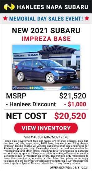 Up to $1,000 off MSRP - New 2021 Subaru Impreza Base