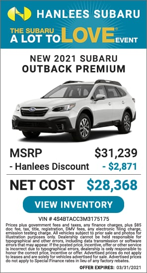 Up to $2,871 off MSRP - New 2021 Subaru Outback Premium