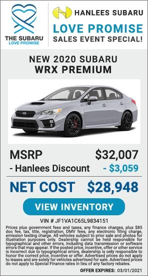 Up to $3,059 off MSRP - New 2020 Subaru WRX Premium