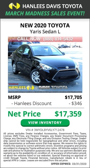 $346 off MSRP - New 2020 Toyota Yaris Sedan L