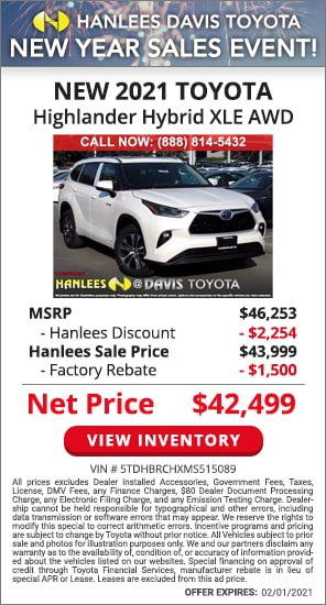 Up to $3,754 off MSRP - New 2021 Toyota Highlander Hybrid XLE AWD