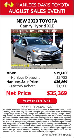 Up to $4,233 off MSRP - New 2020 Toyota Camry Hybrid XLE