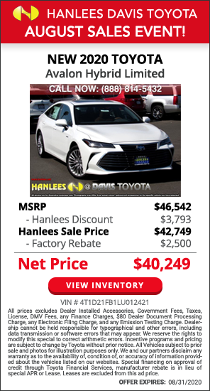 Up to $6,293 off MSRP - New 2020 Toyota Avalon Hybrid Limited