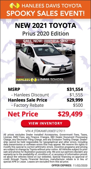 Up to $2,055 off MSRP - New 2021 Toyota Prius 2020 Edition