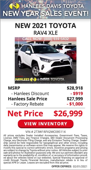 Up to $1,919 off MSRP - New 2021 Toyota RAV4 XLE