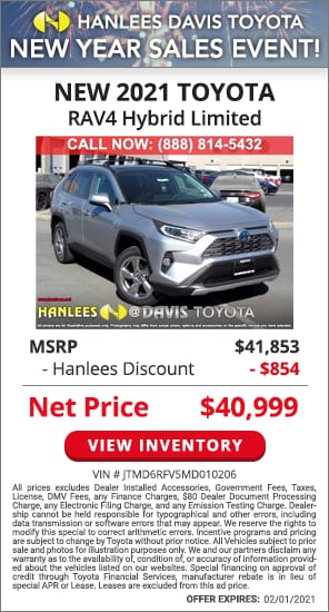 Up to $854 off MSRP - New 2021 Toyota RAV4 Hybrid Limited