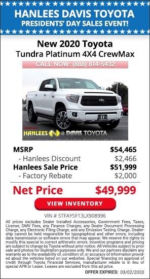 $4,466 off MSRP - New 2020 Toyota Tundra Platinum 4X4 CrewMax
