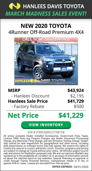 $2,695 off MSRP - New 2020 Toyota 4Runner Off-Road Premium 4X4