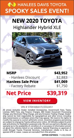 Up to $4,633 off MSRP - New 2020 Toyota Highlander Hybrid XLE