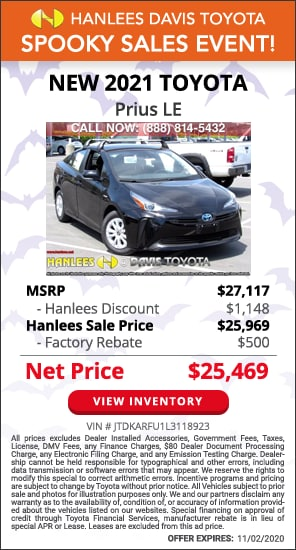 Up to $1,648 off MSRP - New 2021 Toyota Prius LE