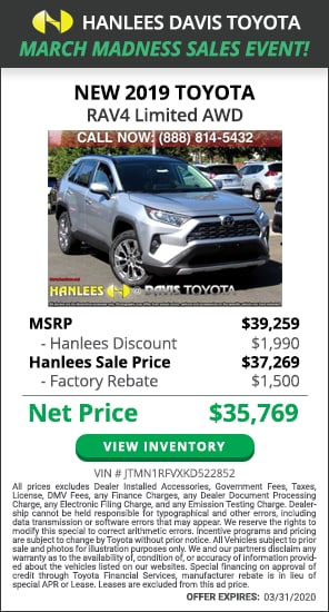 $3,490 off MSRP - New 2019 Toyota RAV4 Limited AWD