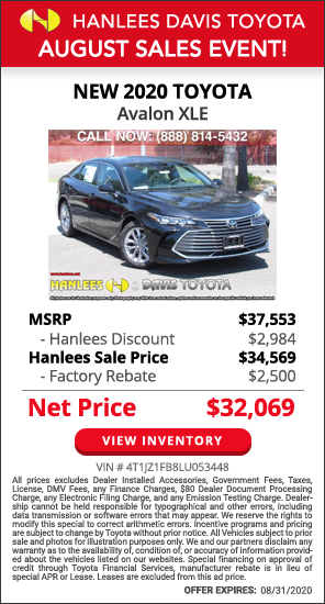 Up to $5,484 off MSRP - New 2020 Toyota Avalon XLE
