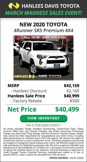 $2,660 off MSRP - New 2020 Toyota 4Runner SR5 Premium 4X4