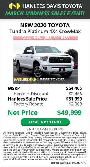$4,466 off MSRP - New 2020 Toyota Tundra Platinum 4X4 CrewMax