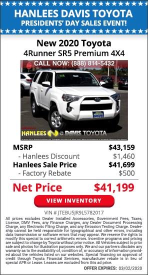 $1,960 off MSRP - New 2020 Toyota 4Runner SR5 Premium 4X4