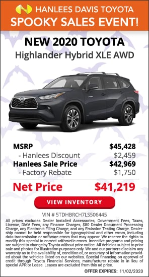 Up to $4,209 off MSRP - New 2020 Toyota Highlander Hybrid XLE AWD