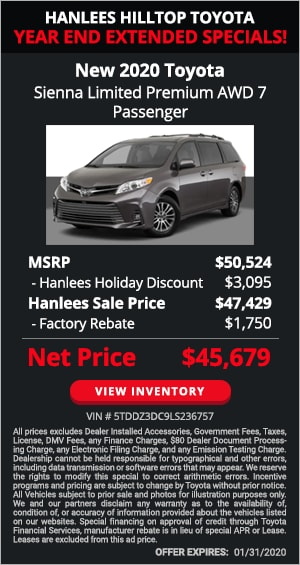$4,845 off MSRP - New 2020 Toyota Sienna XLE 7 Passenger