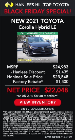 Up to $2,935 off MSRP - New 2021 Toyota Corolla Hybrid LE
