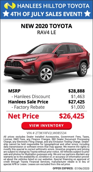Up to $2,463 off MSRP - New 2020 Toyota RAV4 LE
