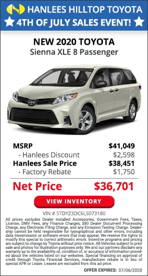 Up to $4,348 off MSRP - New 2020 Toyota Sienna XLE 8 Passenger