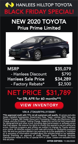 Up to $3,290 off MSRP - New 2020 Toyota Prius Prime Limited