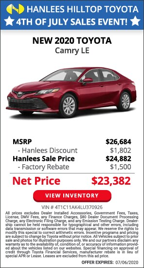 Up to $3,302 off MSRP - New 2020 Toyota Camry LE