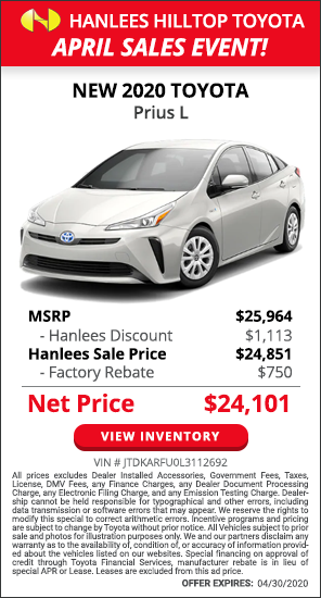 1,863 off MSRP - New 2020 Toyota Prius L