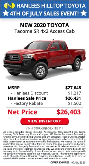Up to $2,717 off MSRP - New 2020 Toyota Tacoma SR 4x2 Access Cab