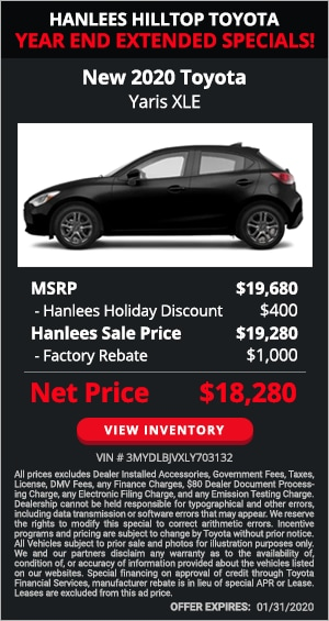 $1,400 off MSRP - New 2020 Toyota Yaris XLE