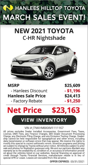 Up to $2,446 off MSRP - New 2021 Toyota C-HR Nightshade