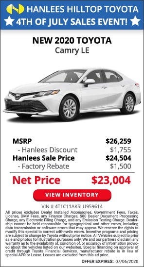 Up to $3,255 off MSRP - New 2020 Toyota Camry LE
