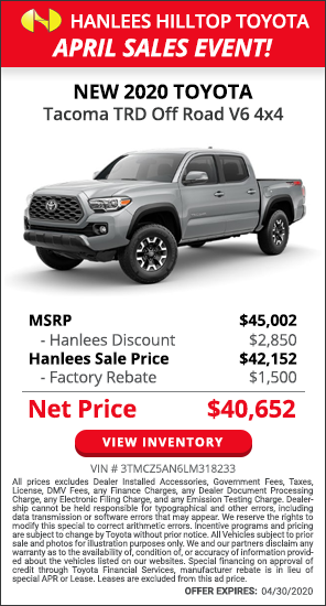 $4,350 off MSRP - New 2020 Toyota Tacoma TRD Off Road V6 4x4