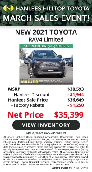 Up to $3,194 off MSRP - New 2021 Toyota RAV4 Limited