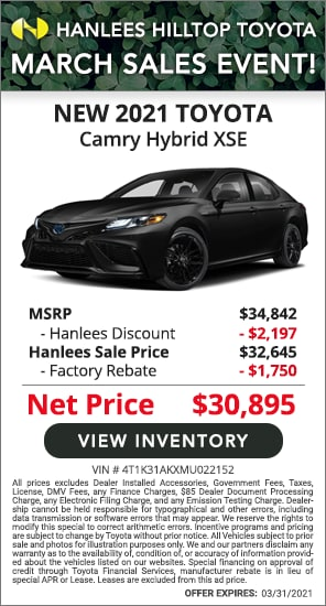Up to $3,947 off MSRP - New 2021 Toyota Camry Hybrid XSE
