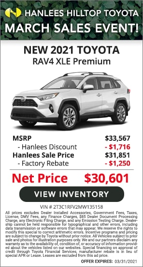 Up to $2,966 off MSRP - New 2021 Toyota RAV4 XLE Premium