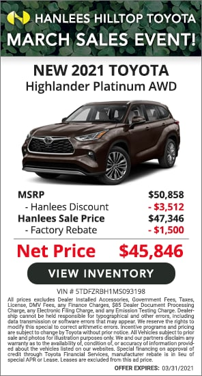 Up to $5,012 off MSRP - New 2021 Toyota Highlander Platinum AWD