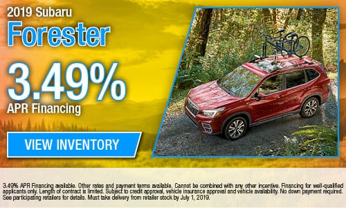 3.49% APR Financing on all new 2019 Forester Models
