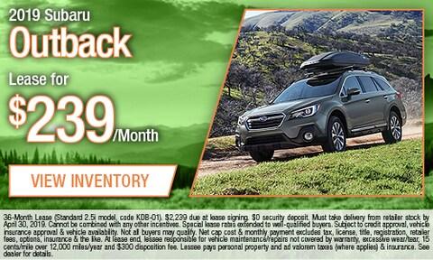 April - 2019 Subaru Outback Lease