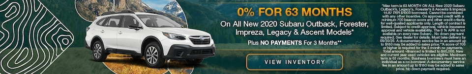 On All New 2020 Subaru Outback, Forester, Impreza, Legacy & Ascent Models*
