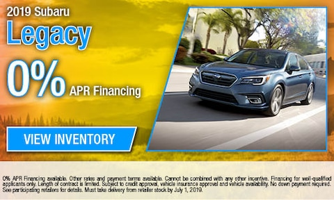 0% APR Financing on all new 2019 Legacy Models