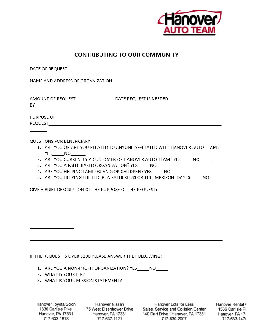 Hanover Nissan Community Involvement Application Pa Spescial Order Parts By Request